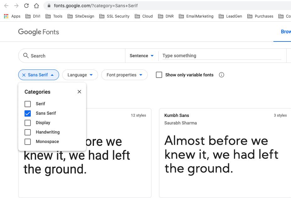 Blog design - google fonts san