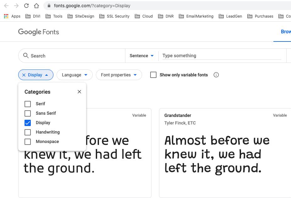 blog design google fonts display
